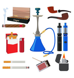 hookah tobacco cigarette and other different vector image