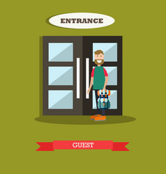 Hotel guest in flat style vector