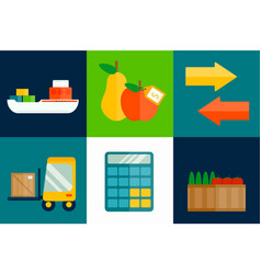 Import export fruits vector