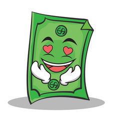 In love dollar character cartoon style vector