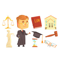 Judge and attributes of judicial activity set for vector