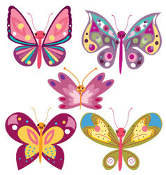 Kawaii butterflies vector