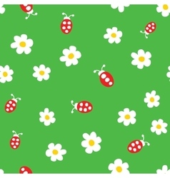 Ladybug and flowers seamless pattern vector image