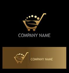 Leaf shopping cart organic gold logo vector