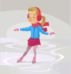 Little smiling girl character skates vector