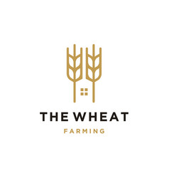 Luxury grain wheat farm logo design vector