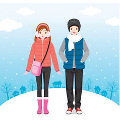 Male and female traveller wearing winter coat vector