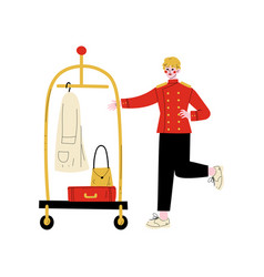 Male bellhop with luggage cart hotel staff vector