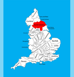 Map north yorkshire in yorkshire and humber uk vector