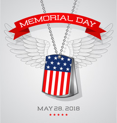 Memorial day card with soldiers dog tags vector