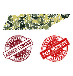 Military camouflage collage of map of tennessee vector