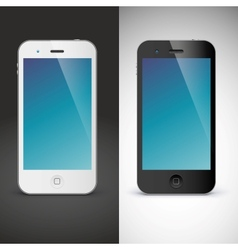 Mobile phone on black and white background vector image