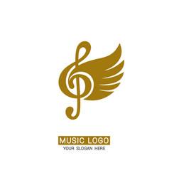 Music logo winged treble clef vector