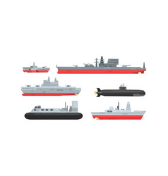 Naval combat ships collection military boat vector