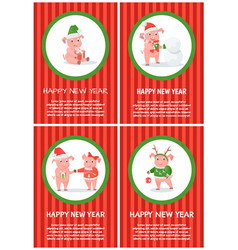 new year of pig holiday festive postcard vector image