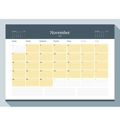 November 2016 Monthly Calendar Planner for 2016 vector image