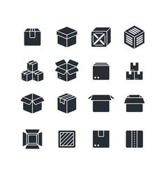 open and closed box black silhouette icons vector image