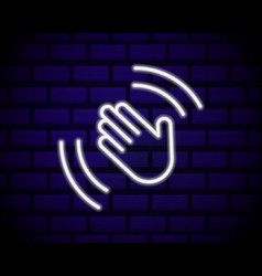 open palm gesture neon sign greeting gesture vector image