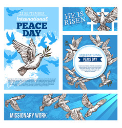 Peace day and missionary works banners with doves vector