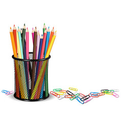 pencils in a pot and paper clips on white ground vector image