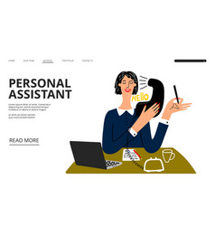 personal assistant landing page business vector image