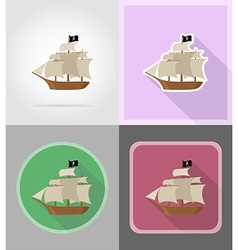 Pirate flat icons 16 vector