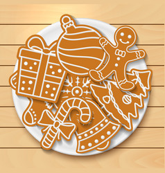plate with tasty christmas cookies on wooden table vector image