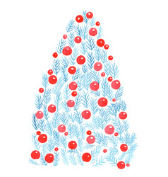 printpine leaves and red ball christmas tree vector image