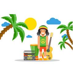 rastafarian cartoon character on jamaica rastaman vector image