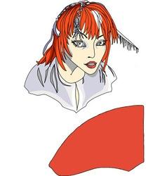 Red head girl in front of mirror vector