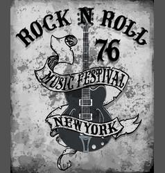Rockn roll poster guitar graphic design tee art vector