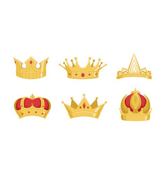 royal golden crowns collection symbols power vector image