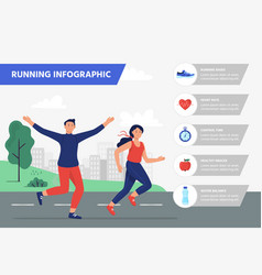 run infographic outdoor aerobics fitness training vector image