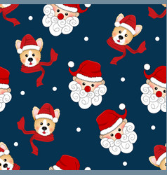 santa claus and corgi with red scarf on indigo vector image