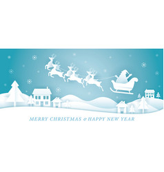 santa claus riding sleigh over village or town vector image