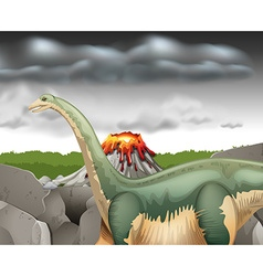 Scene with dinosaur and volcano vector