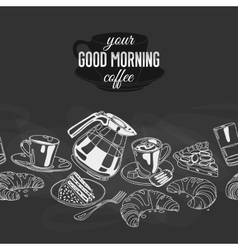 seamless boarder with coffee and sweets vector image