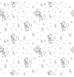 seamless pattern with foxes in pajamas vector image