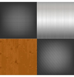 Set Of Metal And Wood Texture Background vector image