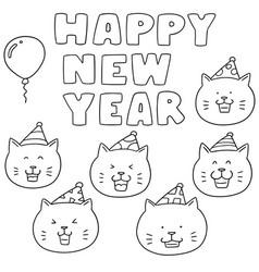 Set of new year celebration cat vector