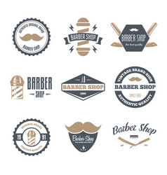 set of vintage barber shop logo labels badges vector image