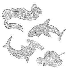 Set with underwater predators in entangle style vector