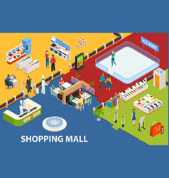 shopping center set object vector image