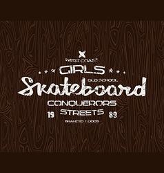 Skateboard typographic emblem vector