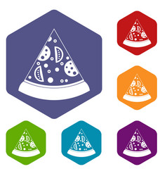 Slice of pizza icons set hexagon vector