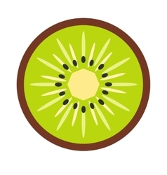 Sliced kiwi flat icon vector