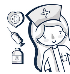 Specialist nurse with hospital elements vector