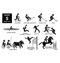 Sport games alphabet s icons pictograph scootering vector