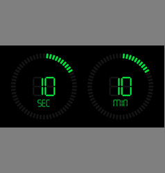 stopwatch timer green digital time countdown vector image