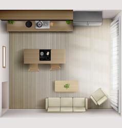 Studio room interior with kitchen top view 3d vector